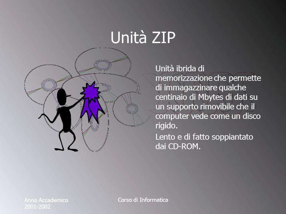Anno Accademico 2001-2002 Corso di Informatica Unità ZIP Unità ibrida di memorizzazione che permette di immagazzinare qualche centinaio di Mbytes di dati su un supporto rimovibile che il computer vede come un disco rigido.