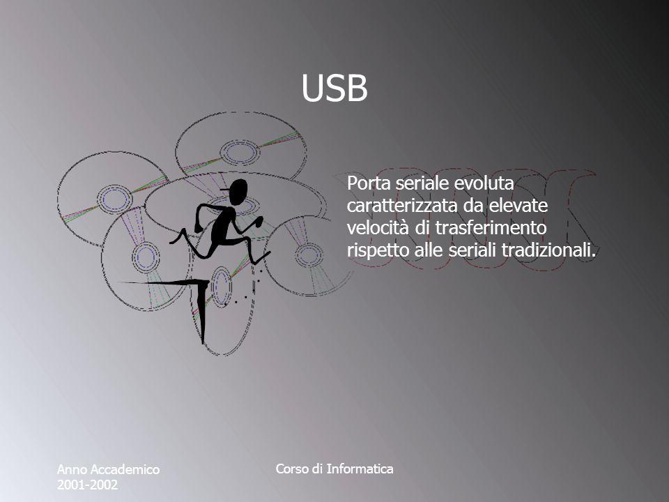 Anno Accademico 2001-2002 Corso di Informatica USB Porta seriale evoluta caratterizzata da elevate velocità di trasferimento rispetto alle seriali tradizionali.