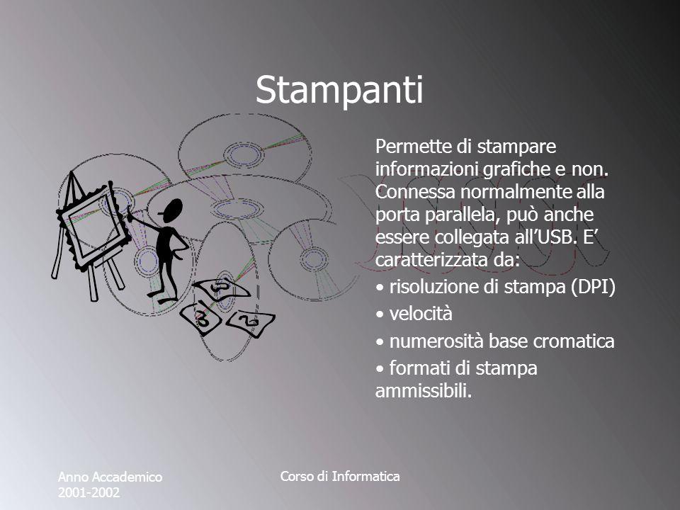 Anno Accademico 2001-2002 Corso di Informatica Stampanti Permette di stampare informazioni grafiche e non.
