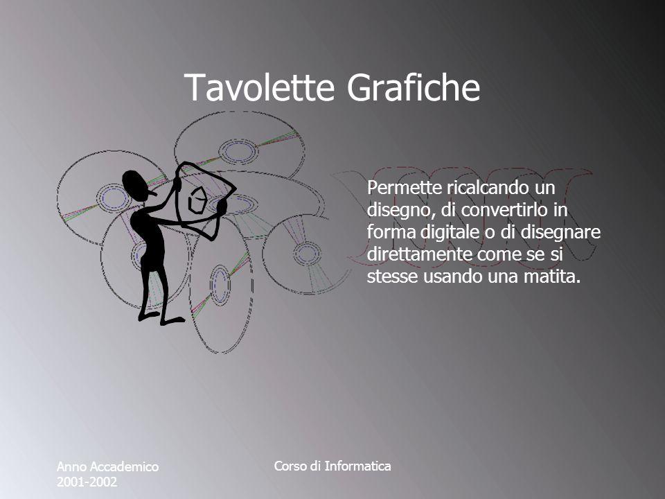 Anno Accademico 2001-2002 Corso di Informatica Tavolette Grafiche Permette ricalcando un disegno, di convertirlo in forma digitale o di disegnare direttamente come se si stesse usando una matita.