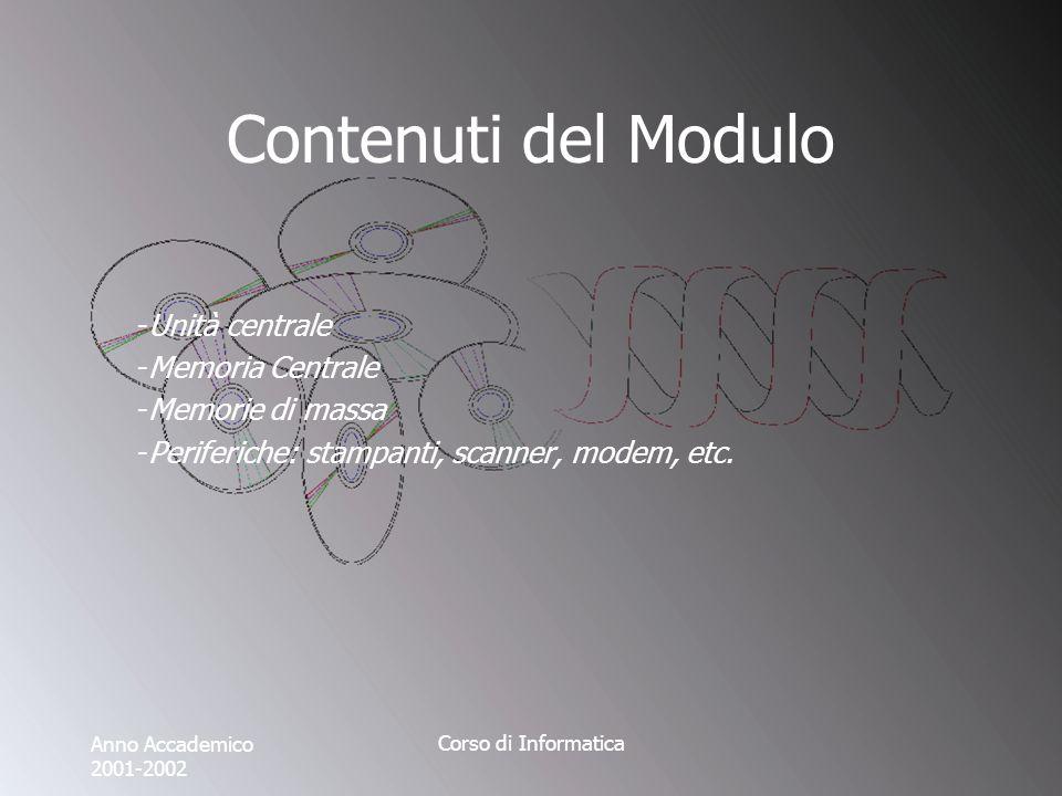 Anno Accademico 2001-2002 Corso di Informatica Contenuti del Modulo -Unità centrale -Memoria Centrale -Memorie di massa -Periferiche: stampanti, scanner, modem, etc.