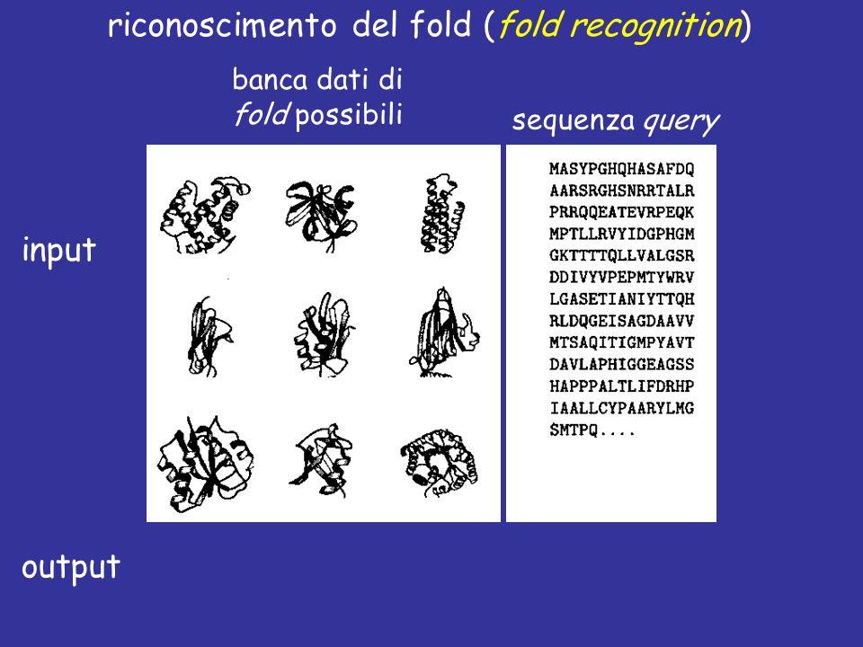 riconoscimento del fold (fold recognition) sequenza query banca dati di fold possibili allineamento sequenza struttura + input output
