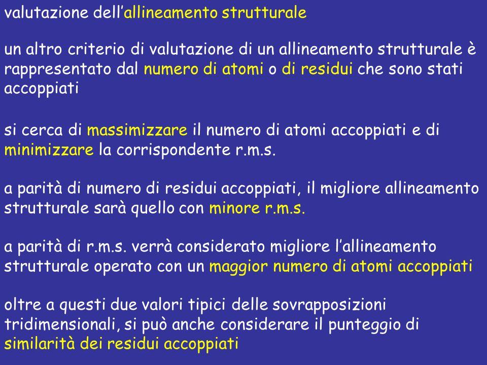 un altro criterio di valutazione di un allineamento strutturale è rappresentato dal numero di atomi o di residui che sono stati accoppiati si cerca di
