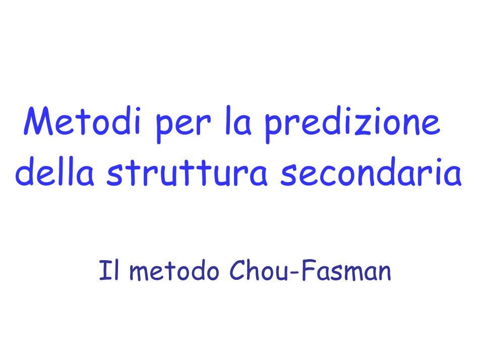 Metodi per la predizione della struttura secondaria Il metodo Chou-Fasman