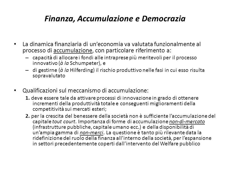 Finanza, Accumulazione e Democrazia La dinamica finanziaria di uneconomia va valutata funzionalmente al processo di accumulazione, con particolare riferimento a: – capacità di allocare i fondi alle intraprese più meritevoli per il processo innovativo (à la Schumpeter), e – di gestirne (à la Hilferding) il rischio produttivo nelle fasi in cui esso risulta sopravalutato Qualificazioni sul meccanismo di accumulazione: 1.