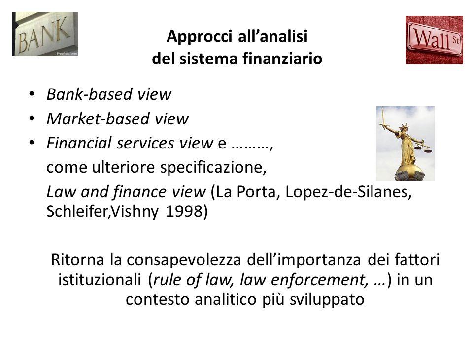 Approcci allanalisi del sistema finanziario Bank-based view Market-based view Financial services view e ………, come ulteriore specificazione, Law and fi