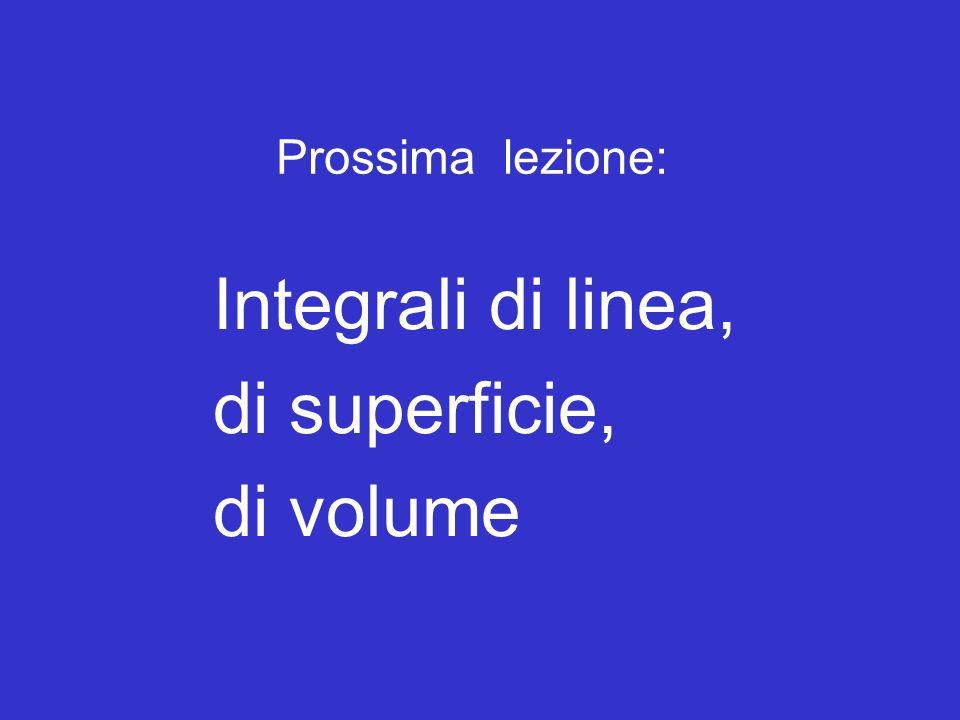 Prossima lezione: Integrali di linea, di superficie, di volume Fine della lezione