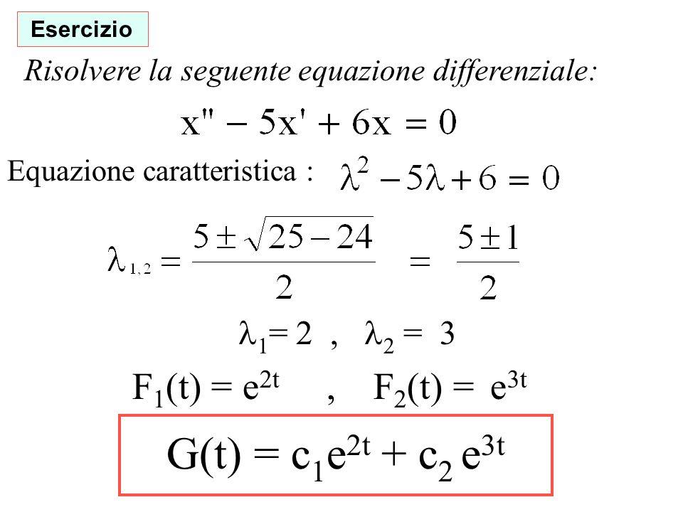 Esercizio Risolvere la seguente equazione differenziale: Equazione caratteristica : 1 = 2, 2 = 3 F 1 (t) = e 2t, F 2 (t) = e 3t G(t) = c 1 e 2t + c 2