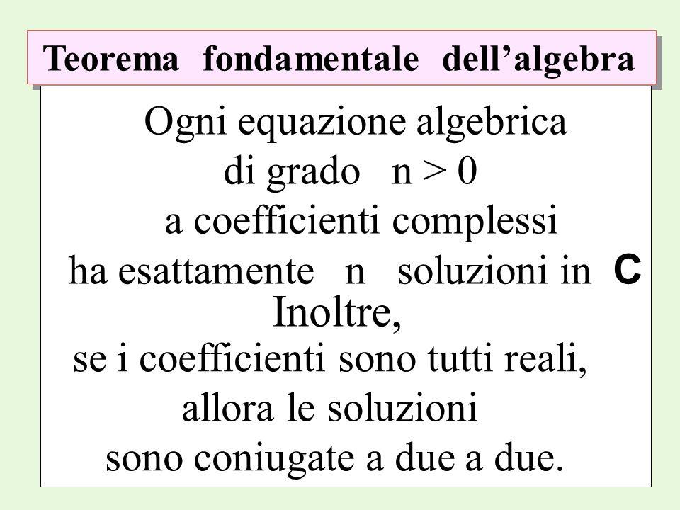 Teorema fondamentale dellalgebra Ogni equazione algebrica di grado n > 0 a coefficienti complessi ha esattamente n soluzioni in C Inoltre, se i coeffi