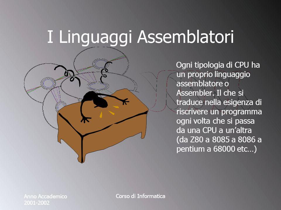 Anno Accademico 2001-2002 Corso di Informatica I Linguaggi Assemblatori Ogni tipologia di CPU ha un proprio linguaggio assemblatore o Assembler.