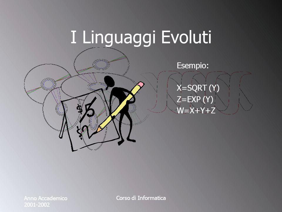 Anno Accademico 2001-2002 Corso di Informatica I Linguaggi Evoluti Esempio: X=SQRT (Y) Z=EXP (Y) W=X+Y+Z