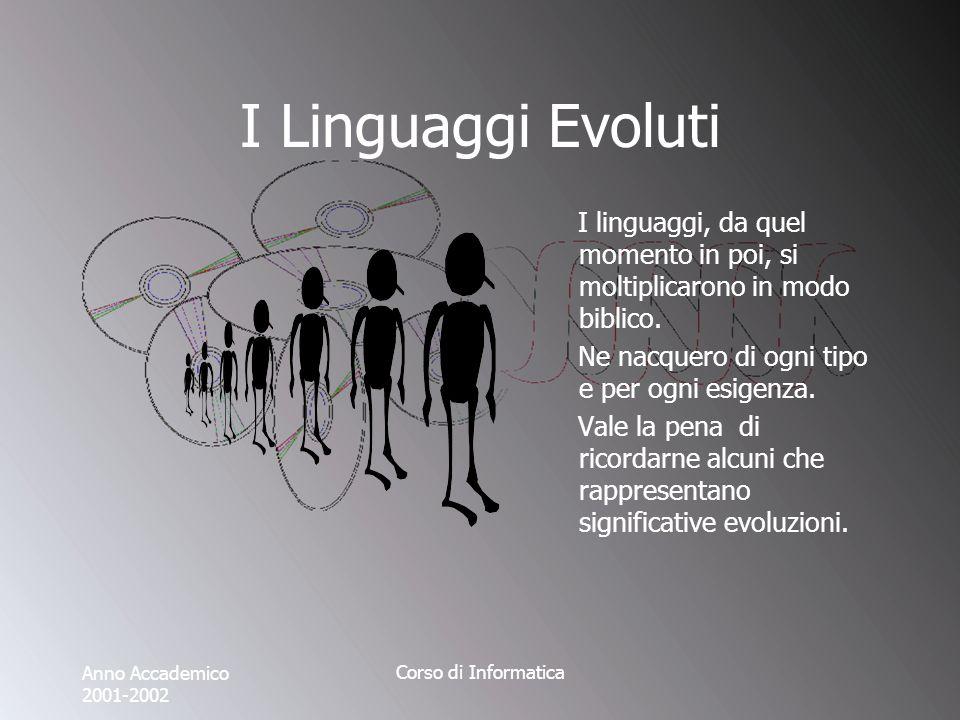 Anno Accademico 2001-2002 Corso di Informatica I Linguaggi Evoluti I linguaggi, da quel momento in poi, si moltiplicarono in modo biblico.