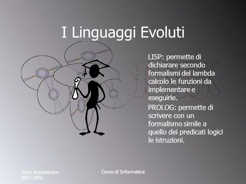 Anno Accademico 2001-2002 Corso di Informatica I Linguaggi Evoluti LISP: permette di dichiarare secondo formalismi del lambda calcolo le funzioni da implementare e eseguirle.