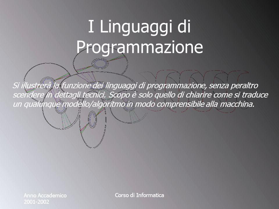 Anno Accademico 2001-2002 Corso di Informatica I Linguaggi di Programmazione Si illustrerà la funzione dei linguaggi di programmazione, senza peraltro scendere in dettagli tecnici.
