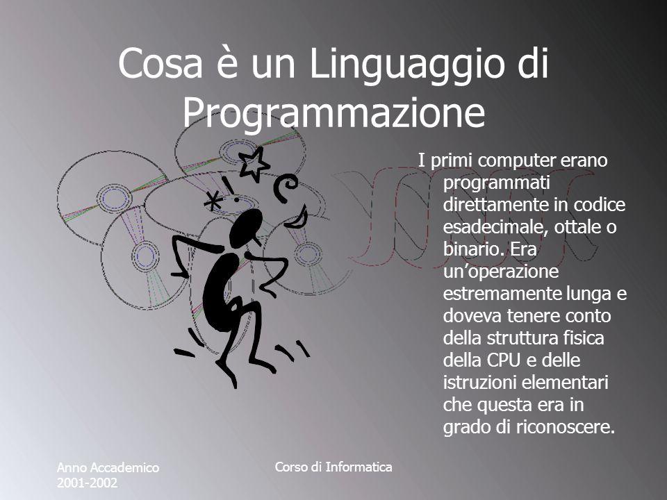 Anno Accademico 2001-2002 Corso di Informatica Cosa è un Linguaggio di Programmazione I primi computer erano programmati direttamente in codice esadecimale, ottale o binario.