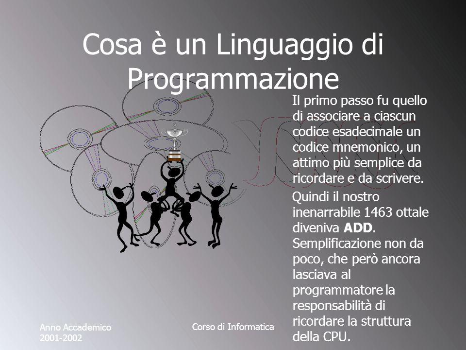 Anno Accademico 2001-2002 Corso di Informatica Cosa è un Linguaggio di Programmazione Il primo passo fu quello di associare a ciascun codice esadecimale un codice mnemonico, un attimo più semplice da ricordare e da scrivere.