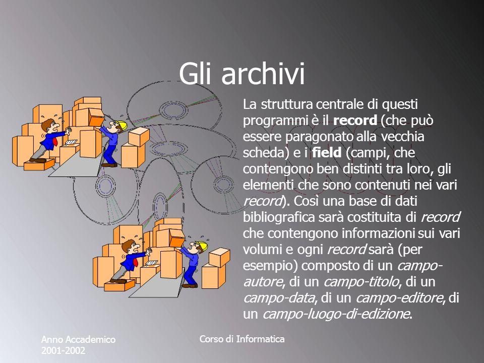 Anno Accademico 2001-2002 Corso di Informatica Gli archivi La struttura centrale di questi programmi è il record (che può essere paragonato alla vecchia scheda) e i field (campi, che contengono ben distinti tra loro, gli elementi che sono contenuti nei vari record).