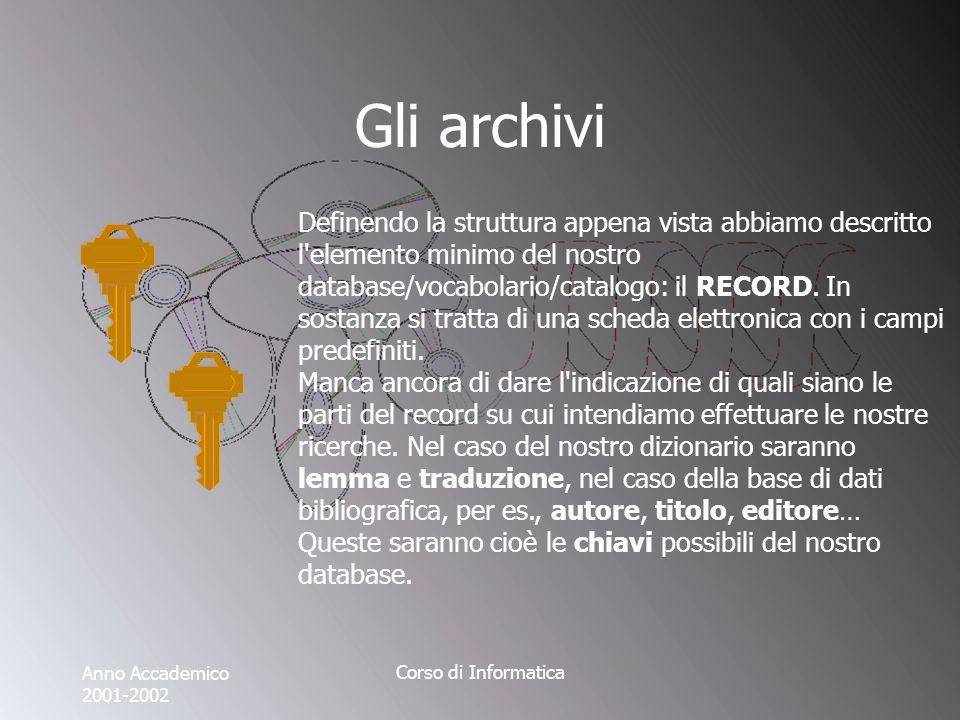 Anno Accademico 2001-2002 Corso di Informatica Gli archivi Definendo la struttura appena vista abbiamo descritto l elemento minimo del nostro database/vocabolario/catalogo: il RECORD.