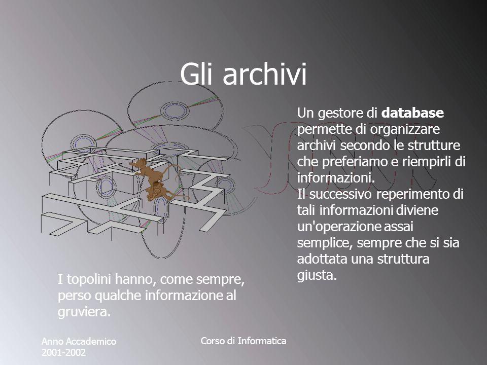 Anno Accademico 2001-2002 Corso di Informatica Gli archivi Un gestore di database permette di organizzare archivi secondo le strutture che preferiamo e riempirli di informazioni.