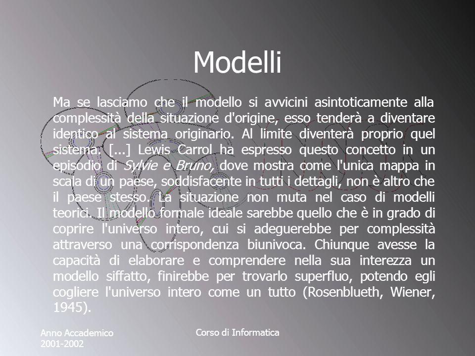 Anno Accademico 2001-2002 Corso di Informatica Modelli Ma se lasciamo che il modello si avvicini asintoticamente alla complessità della situazione d origine, esso tenderà a diventare identico al sistema originario.