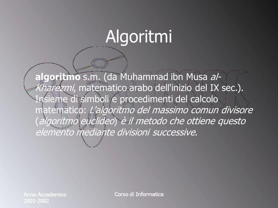 Anno Accademico 2001-2002 Corso di Informatica Algoritmi algoritmo s.m. (da Muhammad ibn Musa al- Kharezmi, matematico arabo dell'inizio del IX sec.).