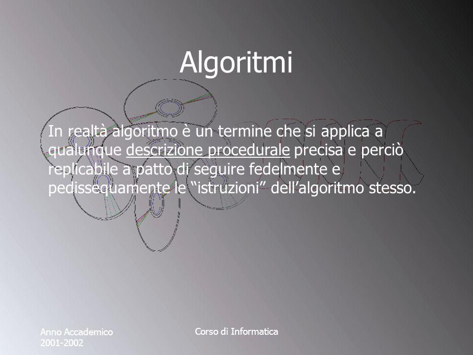 Anno Accademico 2001-2002 Corso di Informatica Algoritmi In realtà algoritmo è un termine che si applica a qualunque descrizione procedurale precisa e perciò replicabile a patto di seguire fedelmente e pedissequamente le istruzioni dellalgoritmo stesso.