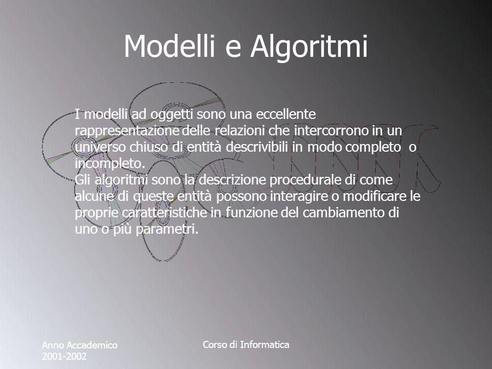 Anno Accademico 2001-2002 Corso di Informatica Modelli e Algoritmi I modelli ad oggetti sono una eccellente rappresentazione delle relazioni che intercorrono in un universo chiuso di entità descrivibili in modo completo o incompleto.