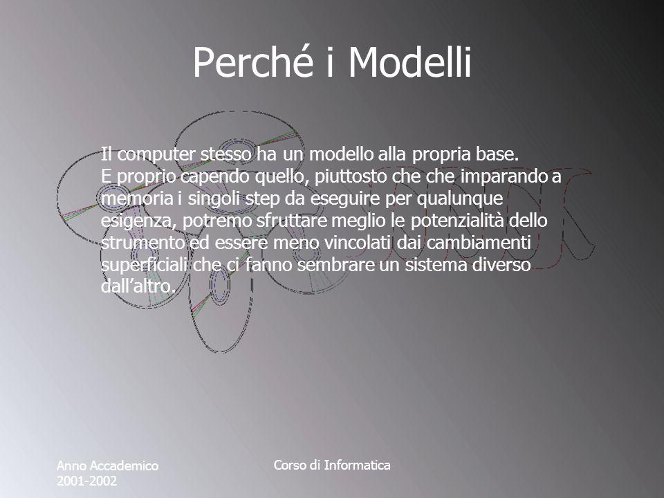 Anno Accademico 2001-2002 Corso di Informatica Perché i Modelli Il computer stesso ha un modello alla propria base. E proprio capendo quello, piuttost