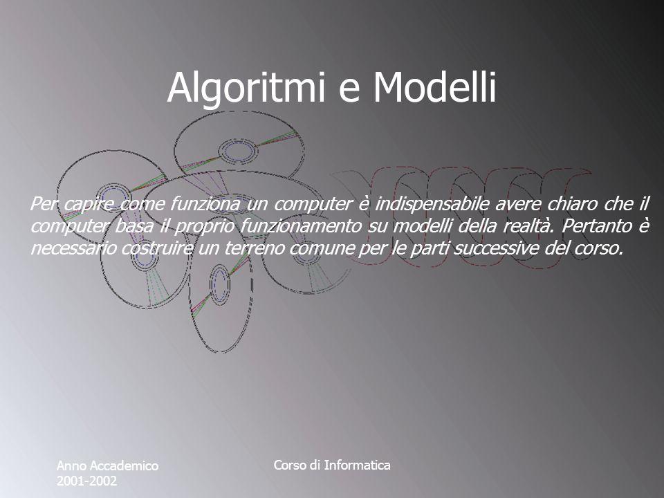 Anno Accademico 2001-2002 Corso di Informatica Algoritmi e Modelli Per capire come funziona un computer è indispensabile avere chiaro che il computer basa il proprio funzionamento su modelli della realtà.