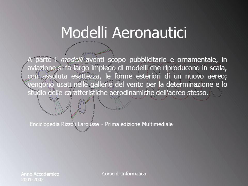 Anno Accademico 2001-2002 Corso di Informatica Modelli Aeronautici A parte i modelli aventi scopo pubblicitario e ornamentale, in aviazione si fa larg