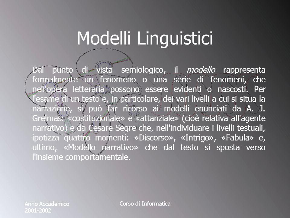 Anno Accademico 2001-2002 Corso di Informatica Modelli Linguistici Dal punto di vista semiologico, il modello rappresenta formalmente un fenomeno o una serie di fenomeni, che nell opera letteraria possono essere evidenti o nascosti.