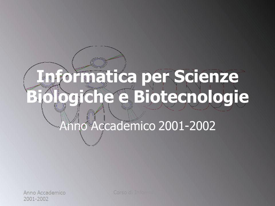 Anno Accademico 2001-2002 Corso di Informatica Informatica per Scienze Biologiche e Biotecnologie Anno Accademico 2001-2002