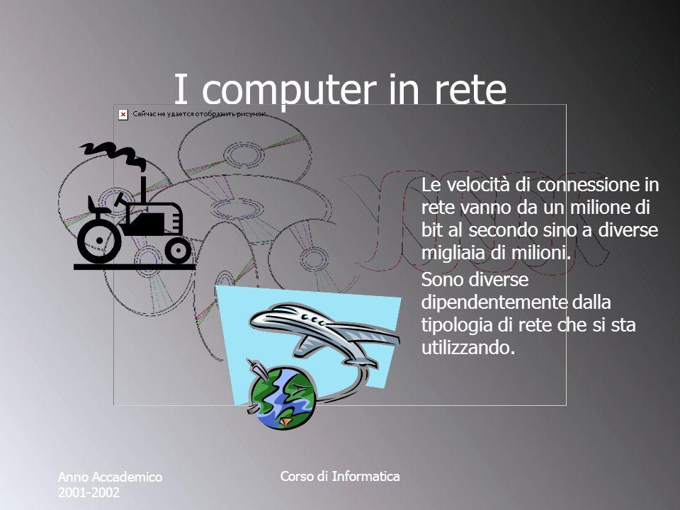 Anno Accademico 2001-2002 Corso di Informatica I computer in rete Le velocità di connessione in rete vanno da un milione di bit al secondo sino a diverse migliaia di milioni.