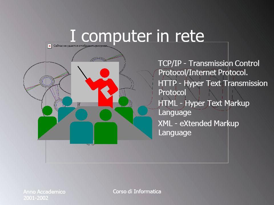 Anno Accademico 2001-2002 Corso di Informatica I computer in rete TCP/IP - Transmission Control Protocol/Internet Protocol.