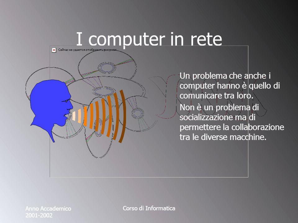 Anno Accademico 2001-2002 Corso di Informatica I computer in rete Il tipo più elementare di comunicazione passa dalla porta seriale.