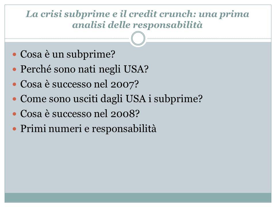 Cosa è un subprime? Perché sono nati negli USA? Cosa è successo nel 2007? Come sono usciti dagli USA i subprime? Cosa è successo nel 2008? Primi numer