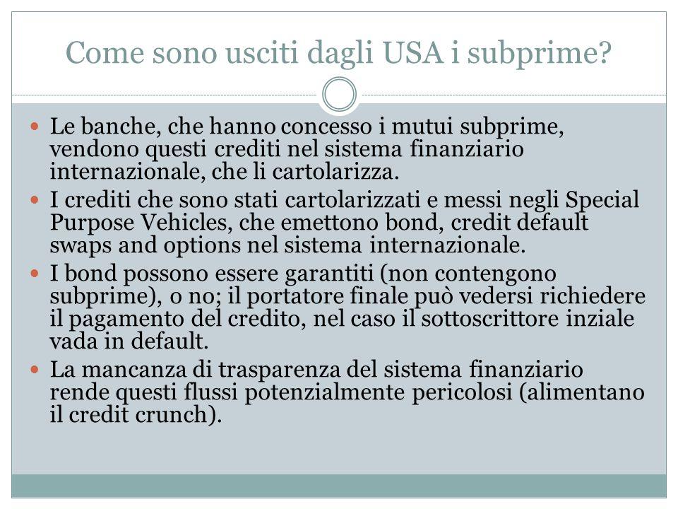 Come sono usciti dagli USA i subprime? Le banche, che hanno concesso i mutui subprime, vendono questi crediti nel sistema finanziario internazionale,