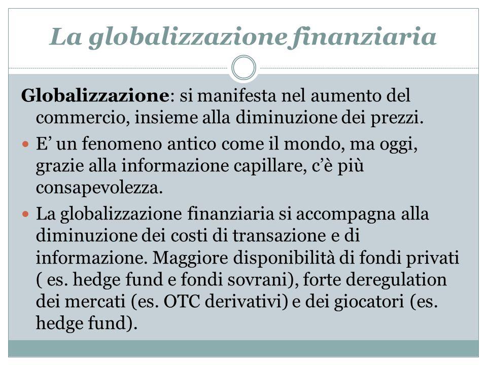 La globalizzazione finanziaria Globalizzazione: si manifesta nel aumento del commercio, insieme alla diminuzione dei prezzi. E un fenomeno antico come