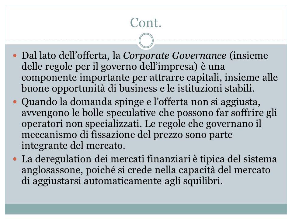 Cont. Dal lato dellofferta, la Corporate Governance (insieme delle regole per il governo dellimpresa) è una componente importante per attrarre capital