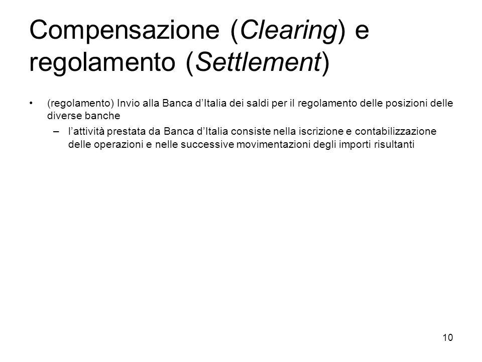10 Compensazione (Clearing) e regolamento (Settlement) (regolamento) Invio alla Banca dItalia dei saldi per il regolamento delle posizioni delle diver