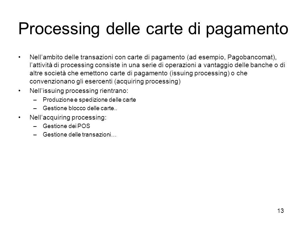 13 Processing delle carte di pagamento Nellambito delle transazioni con carte di pagamento (ad esempio, Pagobancomat), lattività di processing consist