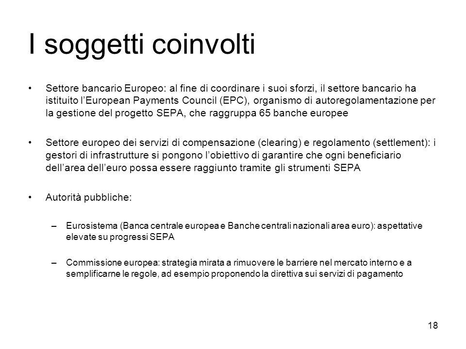 18 I soggetti coinvolti Settore bancario Europeo: al fine di coordinare i suoi sforzi, il settore bancario ha istituito lEuropean Payments Council (EP