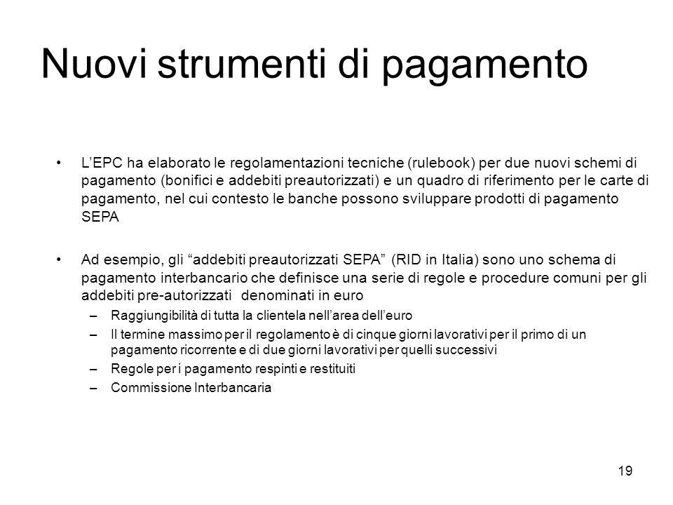 19 Nuovi strumenti di pagamento LEPC ha elaborato le regolamentazioni tecniche (rulebook) per due nuovi schemi di pagamento (bonifici e addebiti preau