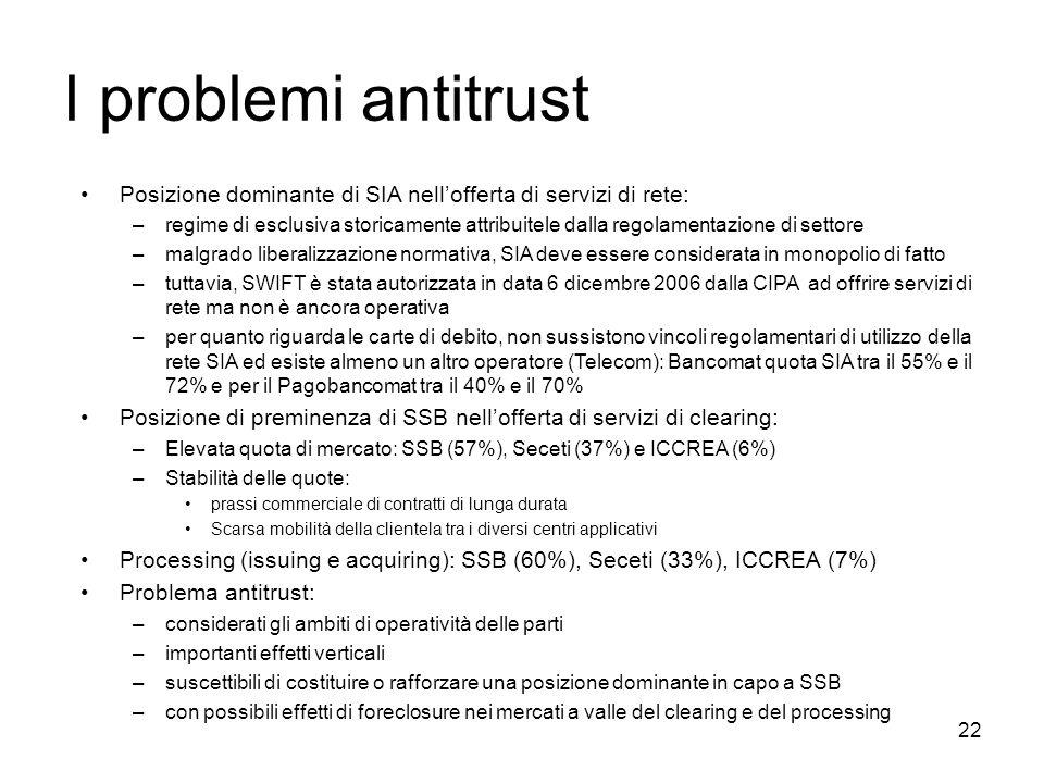 22 I problemi antitrust Posizione dominante di SIA nellofferta di servizi di rete: –regime di esclusiva storicamente attribuitele dalla regolamentazio