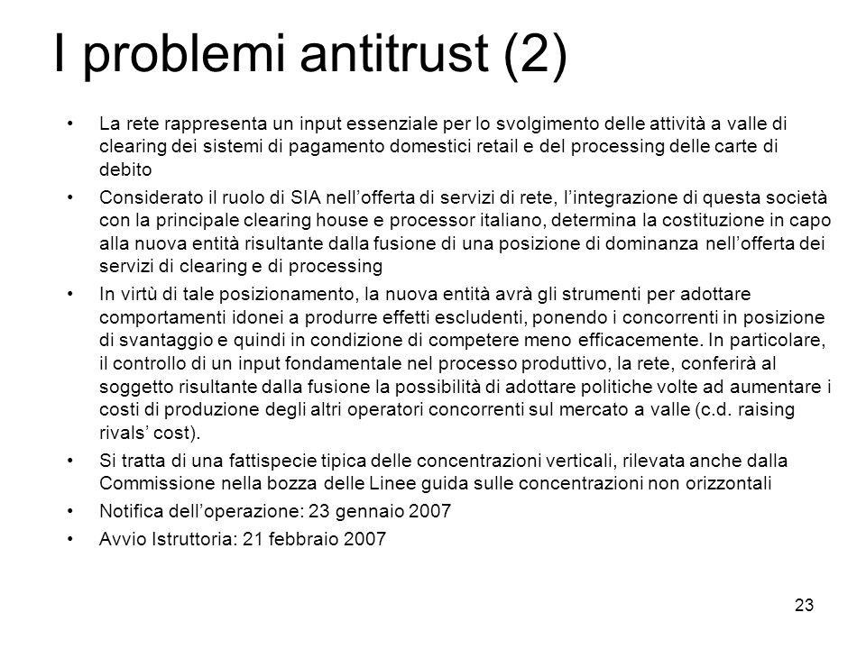 23 I problemi antitrust (2) La rete rappresenta un input essenziale per lo svolgimento delle attività a valle di clearing dei sistemi di pagamento dom
