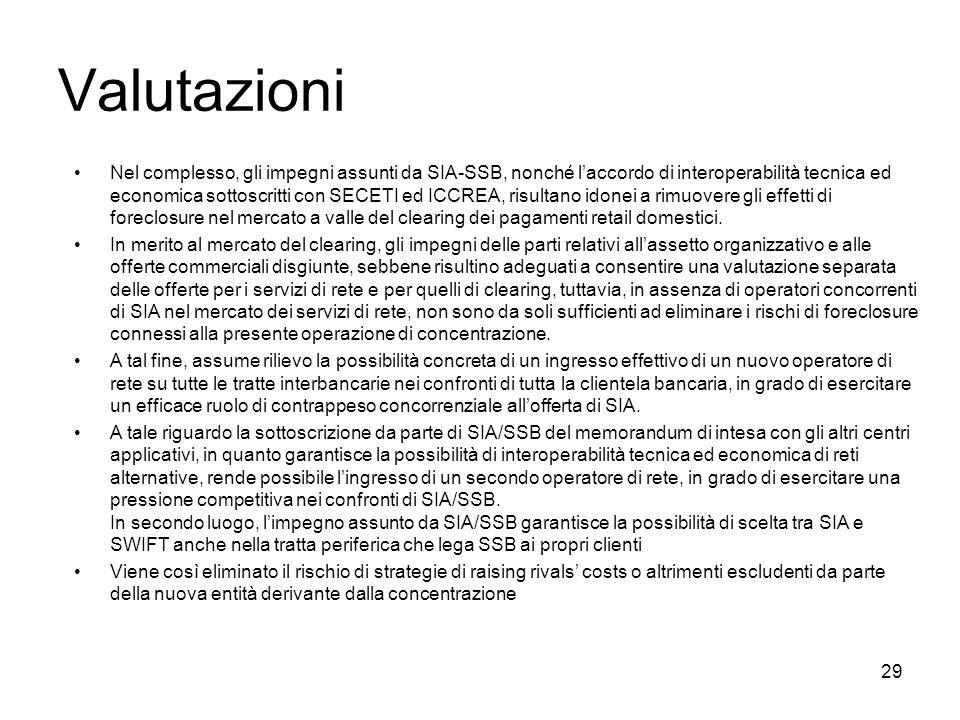 29 Valutazioni Nel complesso, gli impegni assunti da SIA-SSB, nonché laccordo di interoperabilità tecnica ed economica sottoscritti con SECETI ed ICCR