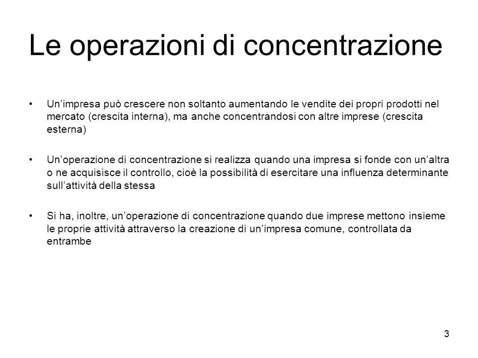 3 Le operazioni di concentrazione Unimpresa può crescere non soltanto aumentando le vendite dei propri prodotti nel mercato (crescita interna), ma anc