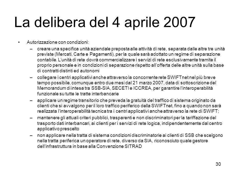 30 La delibera del 4 aprile 2007 Autorizzazione con condizioni: –creare una specifica unità aziendale preposta alle attività di rete, separata dalle a