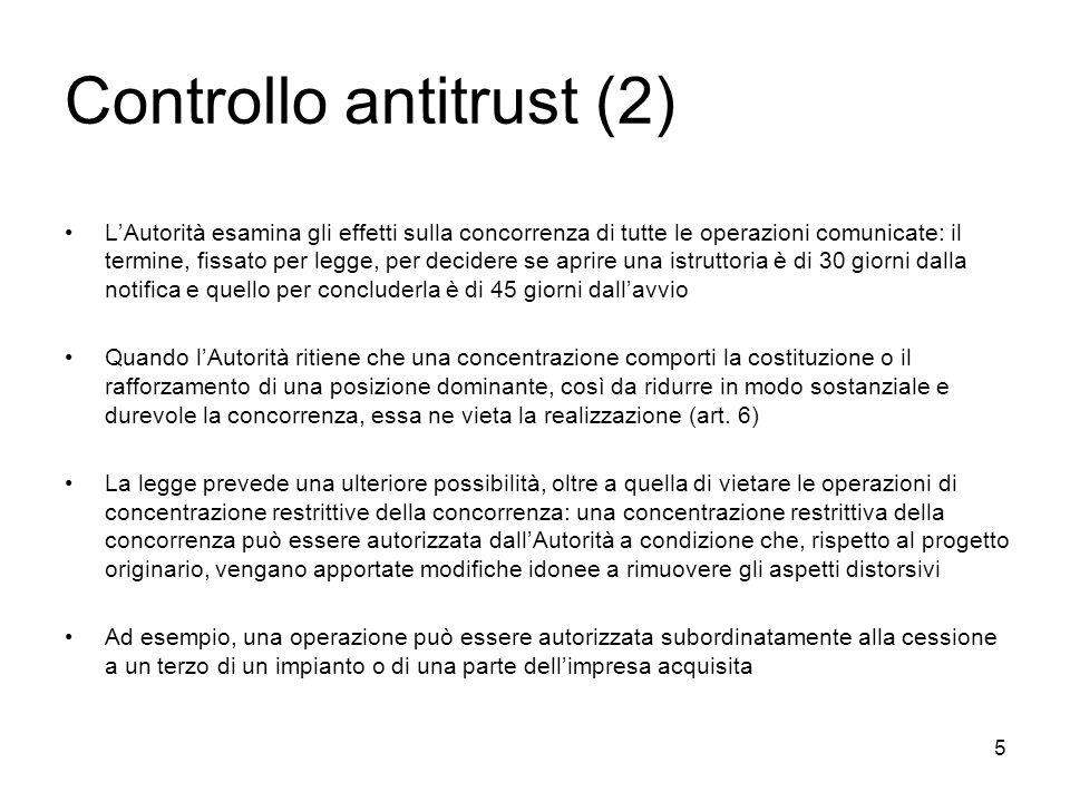 5 Controllo antitrust (2) LAutorità esamina gli effetti sulla concorrenza di tutte le operazioni comunicate: il termine, fissato per legge, per decide