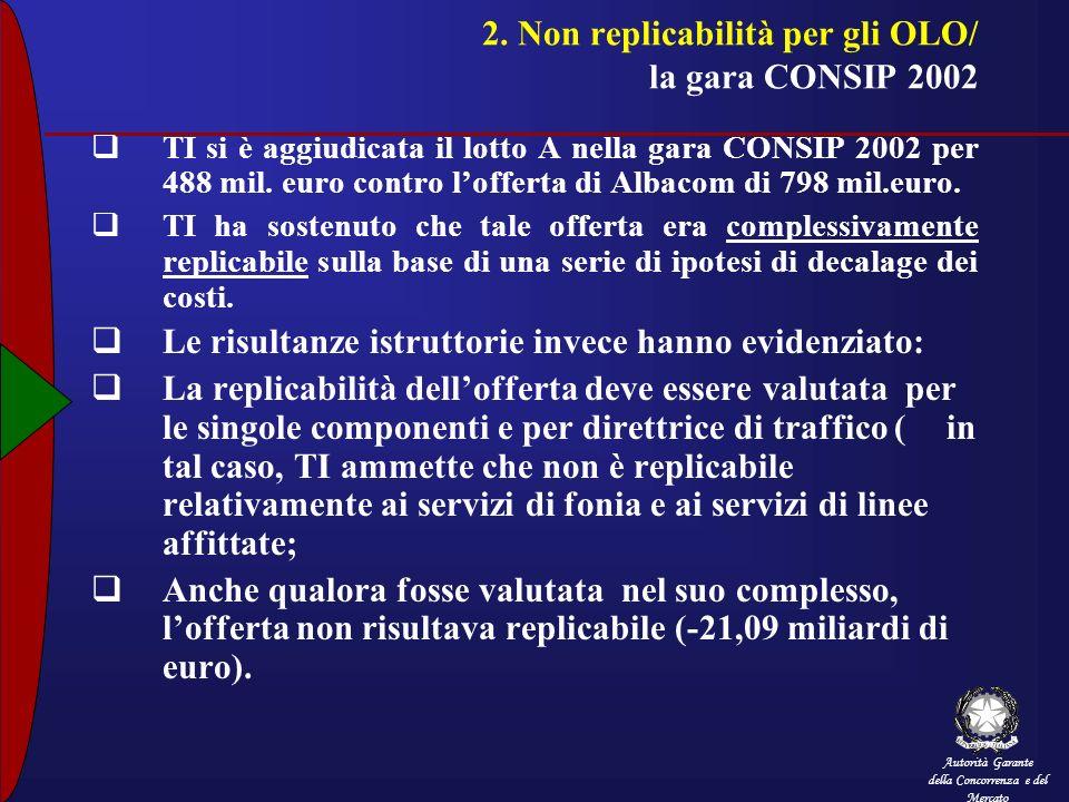 Autorità Garante della Concorrenza e del Mercato 2. Non replicabilità per gli OLO/ la gara CONSIP 2002 TI si è aggiudicata il lotto A nella gara CONSI